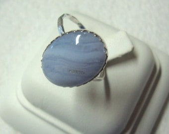 Blue Lace Agate Ring - .925 sterling silver (reclaimed/recycled) - Fair Trade eco friendly - Custom size
