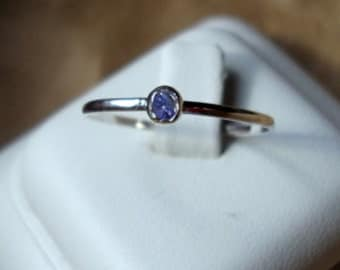 Ring Teeny Tanzanite .03 ct. in  recycled sterling silver -  custom made in your size - purple blue - stacker