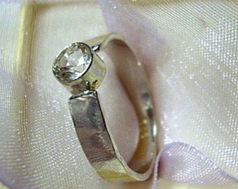 Ring White Topaz Solitaire - 1/2 ct engagement -  recycled Sterling Silver- Custom Size  April