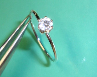 Ring White diamond-Quartz eco-friendly sterling silver prong setting 4mm - Custom Made in your Size by me in the USA - April
