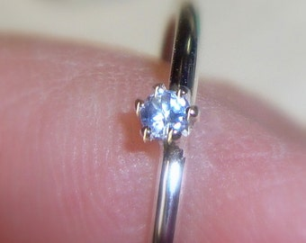 Ring Tiny blue Tanzanite eco-friendly sterling silver prong set 2mm - Custom Made in your Size