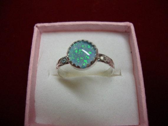 Blue Australian opal in sterling silver ring - custom size