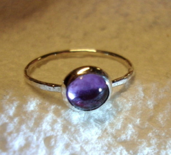 Alexandrite in Silver ring - blue violet to rose purple - reclaimed recycled .925 sterling - custom size