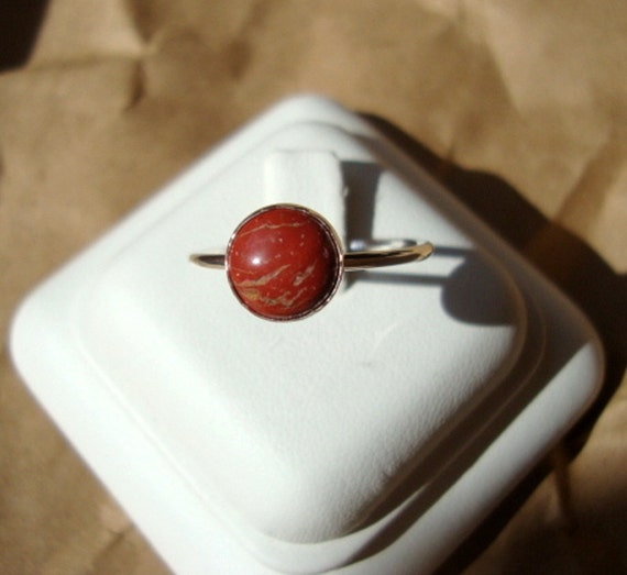 Red Jasper Ring - 8mm  on 16 ga sterling silver - Rusty red orange - custom made in your size - 16gh