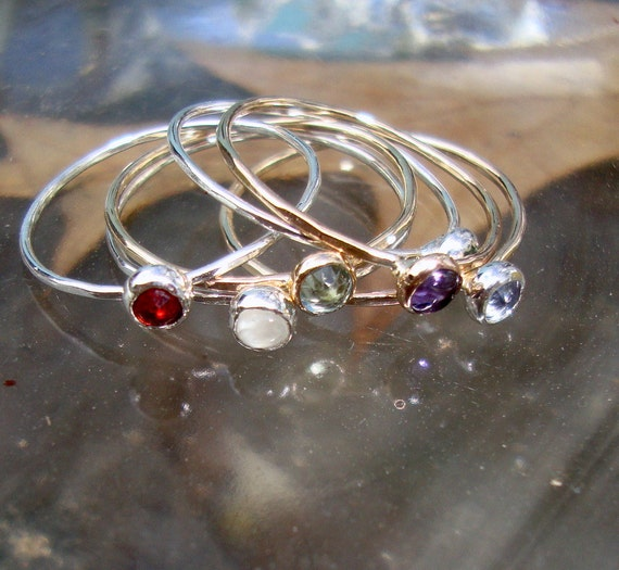 Ring  - delicate build-your-own stack w your chosen stones  - sterling silver/14k GF - ONE ring Custom made in your Size