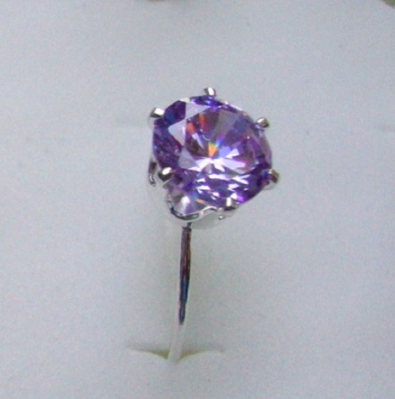 Ring Lavender cubic zirconia 8mm with thin band - eco-friendly sterling silver - Custom Made in your Size -