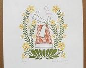 wildflower windmill letterpress print