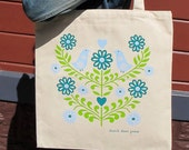floral with birds organic tote