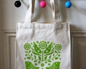 folk bird lunch tote (green)