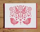 double bird and tulip card