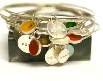 Custom Bangle Charm Bracelet, personalized, Bridesmaid Gift, memory bracelet, Custom Date, Initial, Name, Mother's Day, stacking bracelet