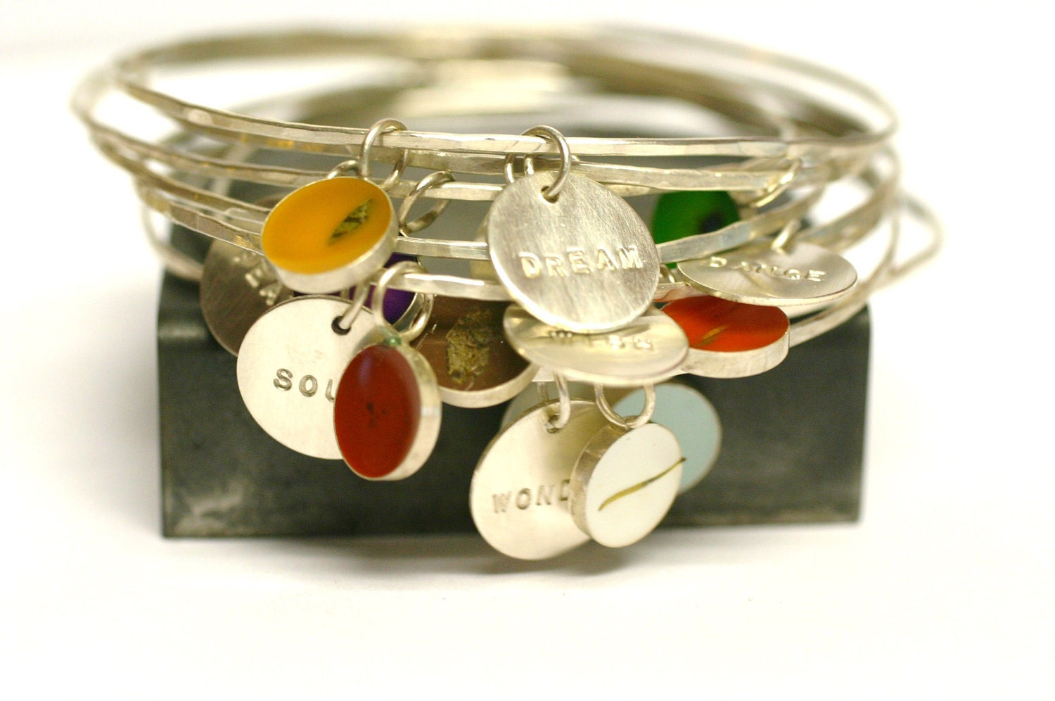 custom bangle charm bracelet personalized bridesmaid gift