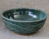 Green Leaf Motif Clay Bowl