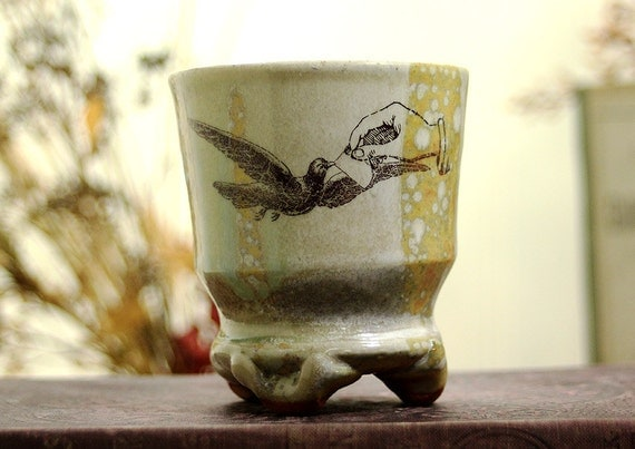 Shot Glass or Small Cup or Little Cup - Vintage Bird Love Note