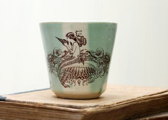 Shot Glass or Small Cup or Little Cup - Mermaid Drawing