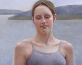 Lady of the Lake portrait landscape oil painting 50x40cm