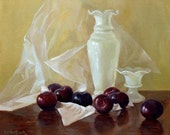 Milk Glass with Plums still life painting 10x12in
