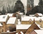English Village in Winter watercolor original