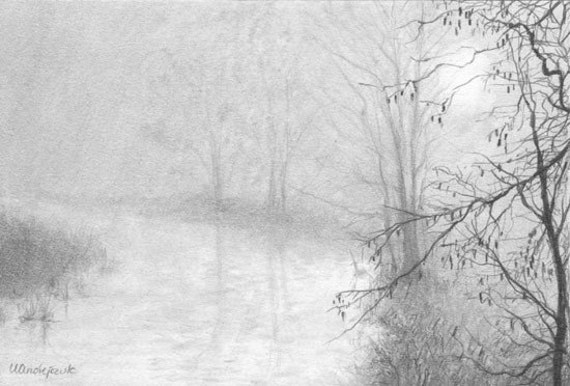 MISTY MORNING miniature 6x4in pencil drawing landscape by Ursa