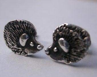 Handmade Silver Hedgehog Stud Earrings