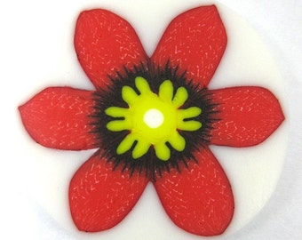 Polymer clay red Sparaxis flower cane