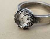 Heavy Faceted Quartz Ring Sterling silver Size 5.75