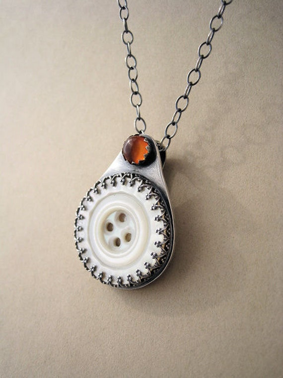 Vintage Mother of Pearl Button and Baltic Amber Pendant set in  Sterling silver