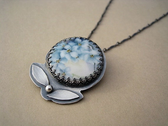 SALE 25% Off - Hand Painted Vintage Porcelain Button Necklace Blue White Flowers