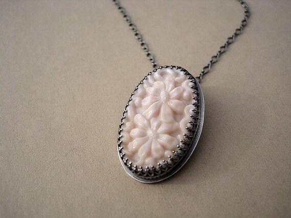 Handmade Floral Vintage Glass Necklace Sterling Silver Pendant AdobeSol