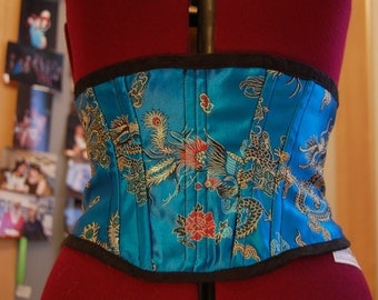 Blue Chinese brocade corset