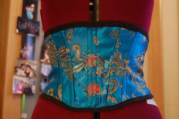 Blue Chinese brocade corset
