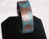 Etched Copper Cuff Bracelet