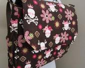R Kaufman Cool Cords in Pink Skulls, Diaper, Messenger, Backpack Convertible Bag/W Back Zip Pocket