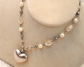 Antique Look Bead and Heart Necklace