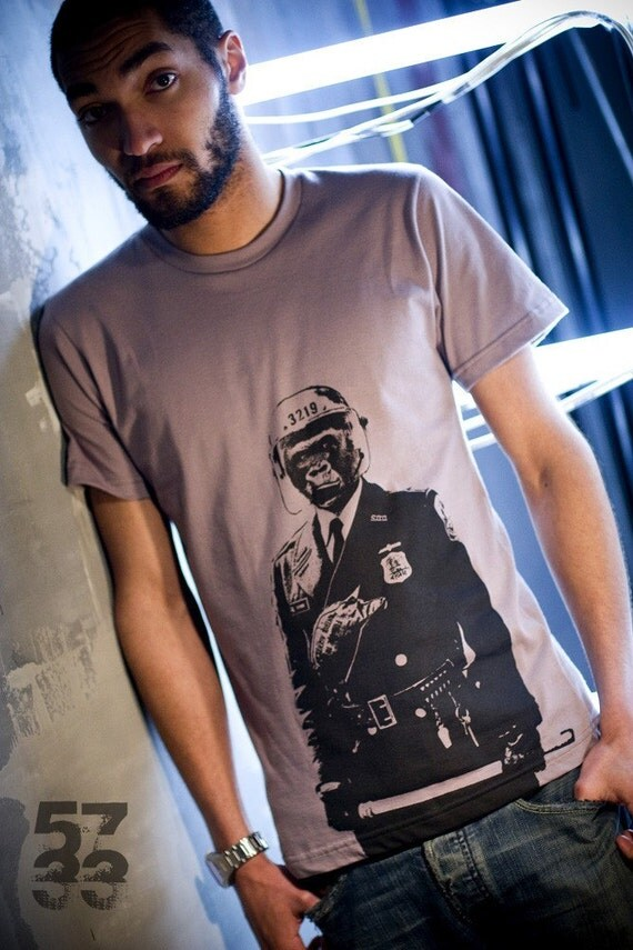 Gorilla Cop Men's T shirt Cinder Organic