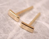 5mm x 2mm Solid 14k Gold Stud Earrings Small Bar Studs 14k Yellow Gold Geometric Jewelry by SARANTOS