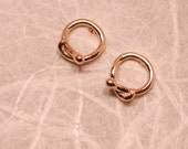 Gold Snake Hoop Earrings Tiny 14k Yellow Gold Serpent Circle Studs by SARANTOS