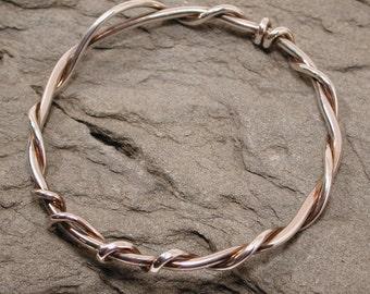 Twist Bracelet Vine Bangle Sterling Silver Botanical Jewelry by SARANTOS