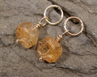Modern Rutilated Quartz Earrings 14k Yellow Gold Jewelry by Susan Sarantos