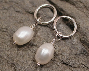 Dainty Pearl Earrings Sterling Silver Jewelry by SARANTOS