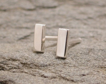 5mm x 2mm Minimal Simple Bar Studs Modern Small Bar Earrings Sterling Silver by Susan SARANTOS