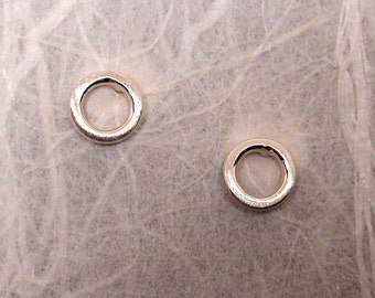 5mm Brushed Circle Studs Sterling Silver O Earrings Small Ring Studs Delicate Earrings by Susan Sarantos