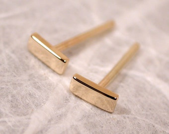 Small Gold Earrings 5mm x 2mm Petite Simple Modern 14k Bar Studs Yellow Gold Posts by SARANTOS