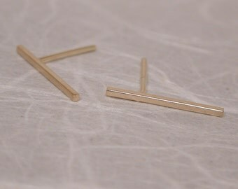 15mm x 1mm 14k Brushed Gold Earrings Thin Minimal Bar Skinny 14k Yellow Gold Studs by SARANTOS
