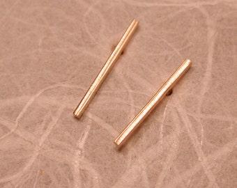15mm x 1mm 14k Brushed Gold Earrings Thin Minimal Bar Skinny 14k Yellow Gold Studs by Susan Sarantos