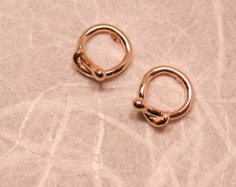 Gold Snake Hoop Earrings Tiny 14k Yellow Gold Serpent Circle Studs by Susan Sarantos