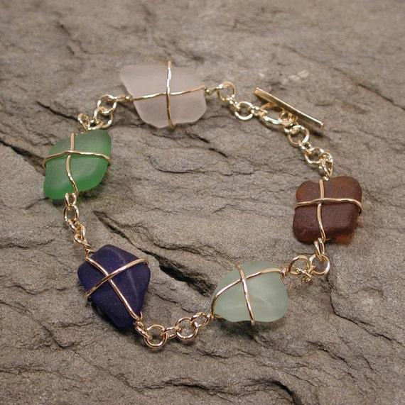 Sea Glass Bracelet 14k Yellow Gold Multicolor Beach Glass Jewelry by SARANTOS