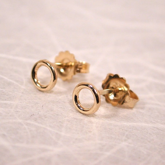 5mm Tiny Gold Circle Stud Earrings 14k Yellow Gold By Sarantos