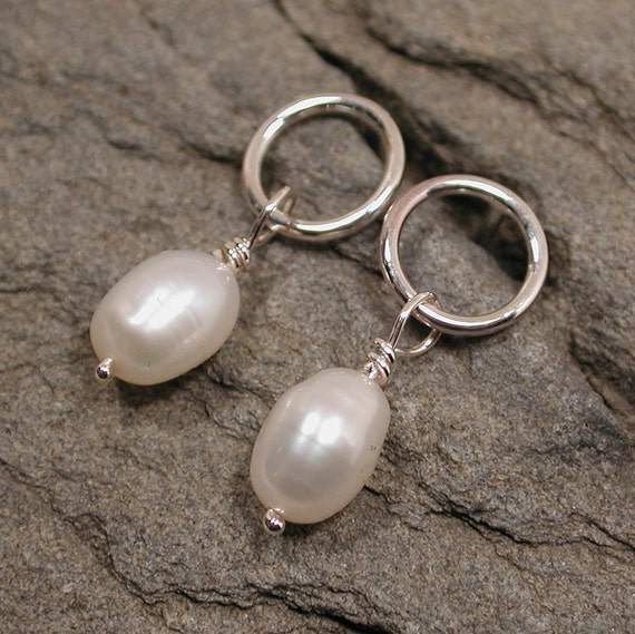Dainty Pearl Earrings Sterling Silver Jewelry by Susan Sarantos