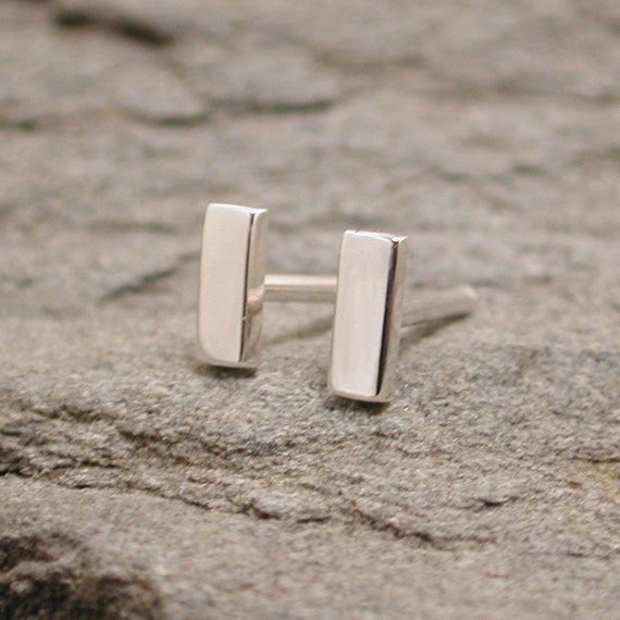 5mm x 2mm Sterling Silver Small Flat Stud Earrings Short Bar Studs Silver by SARANTOS